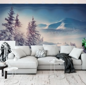 Vinyl wall murals winter in the carpathian mountains