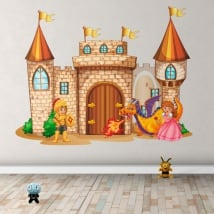 Vinyl stickers castle with princess and prince