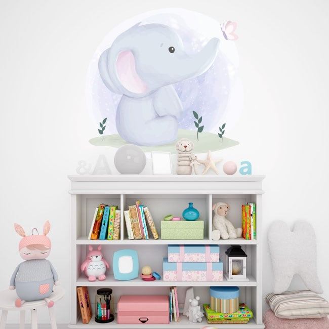 Vinyls and baby stickers elephant with butterfly