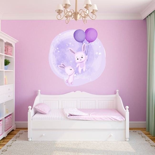 Vinyls and children's stickers rabbits with balloons
