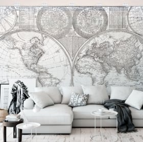 Vinyl wall murals black and white world map