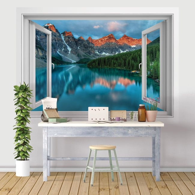 Vinyl and stickers 3d windows lake and mountains of india