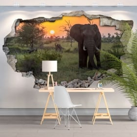 Vinyls and 3d stickers elephant sunset in africa
