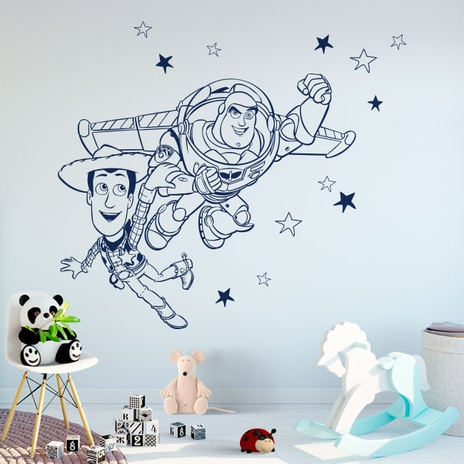 Vinyl and stickers buzz lightyear and woody toy story