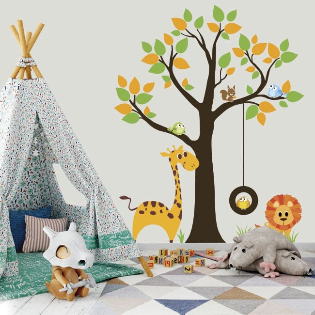 Vinyl and stickers tree with children's animals
