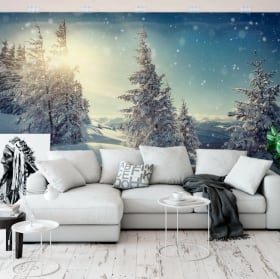 Wall mural sunset in the snowy mountains