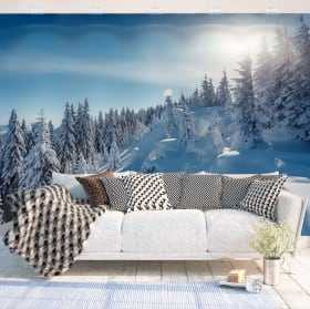 Vinyl wall murals sunset in the snowy mountains