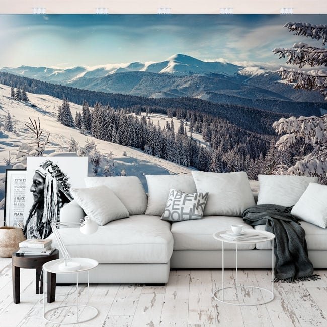 Vinyl wall murals landscape with snowy mountains