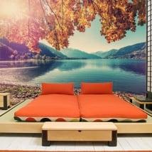 Vinyl wall murals austria sunset on lake zell