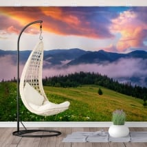 Vinyl wall murals sunrise in the mountains