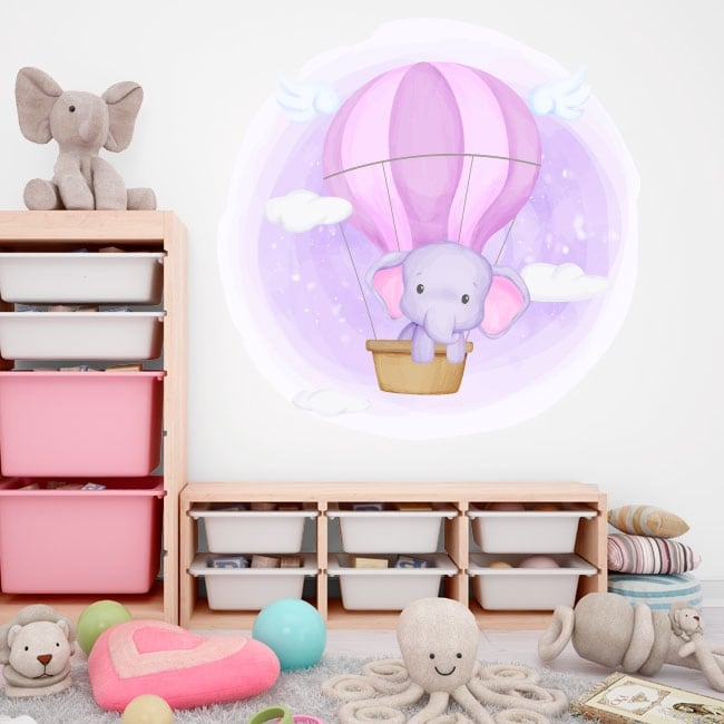 Vinyls and children's stickers elephant in the balloon