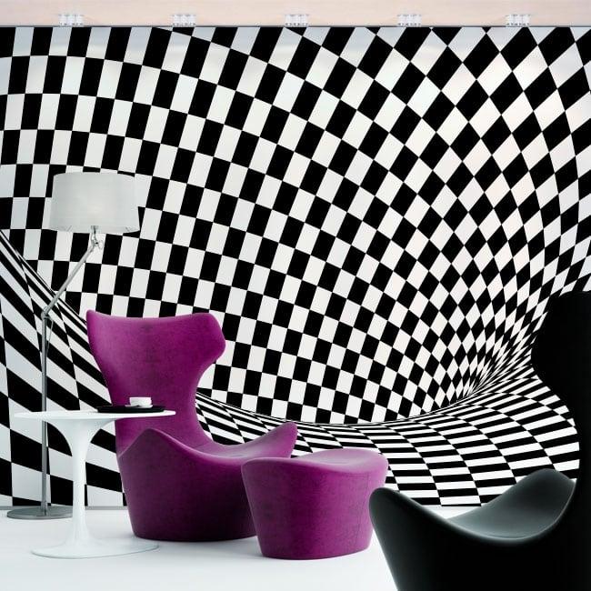 Vinyl wall murals optical effect