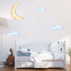 Vinyl stickers balloon with clouds and stars