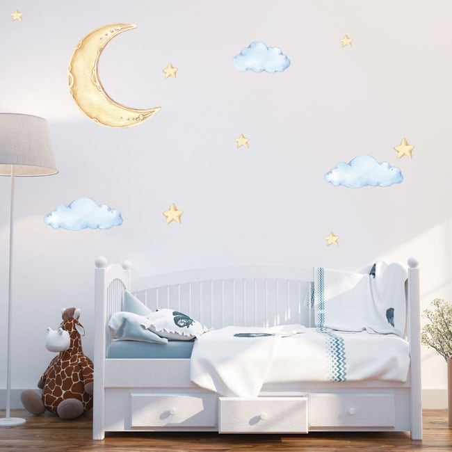 Vinyls and children's stickers moon clouds and stars