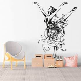 Vinyl and stickers woman dancer silhouette