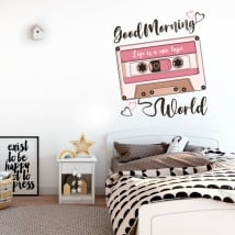 Vinyl and stickers english phrase good morning world