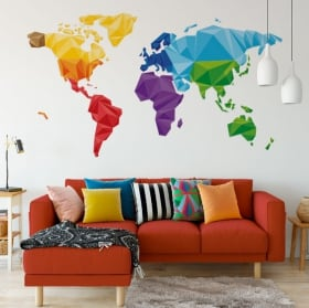 Vinyl and stickers polygonal triangles world map