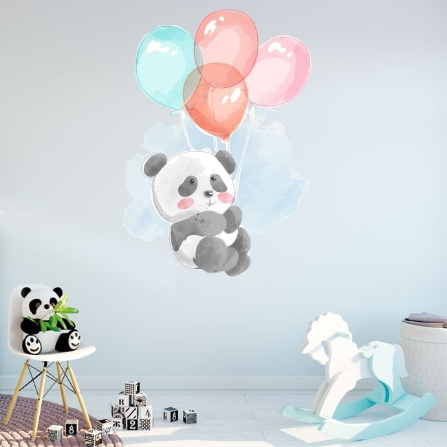 Vinyls and children's stickers panda bear with balloons