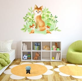 Vinyl stickers watercolor effect fox family