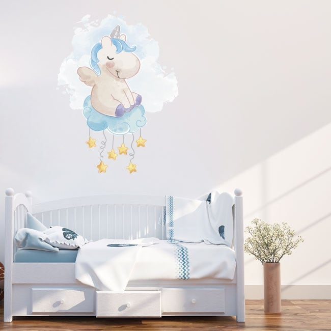 Vinyl and stickers unicorn on the cloud with stars