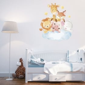 Vinyl and children's stickers animals in the cloud