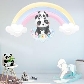 Children's vinyl stickers panda bear and rainbow