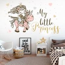 Vinyl and children's stickers princess with unicorn