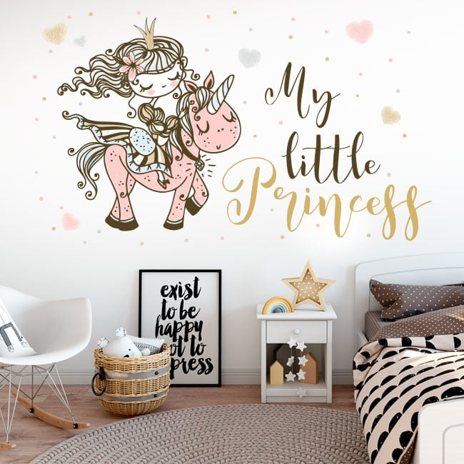 Vinyl and children's stickers princess with unicorn
