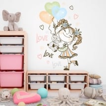 Vinyls and stickers girl with balloons and teddy bear
