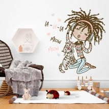 Decorative vinyl and stickers girl with cat