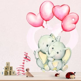 Vinyls and stickers elephants with balloons love