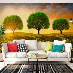 Vinyl wall murals trees in the meadow