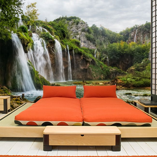 Vinyl wall murals landscape with waterfalls