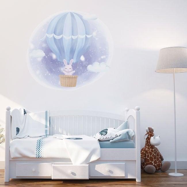 Vinyl and children's stickers rabbit on the balloon