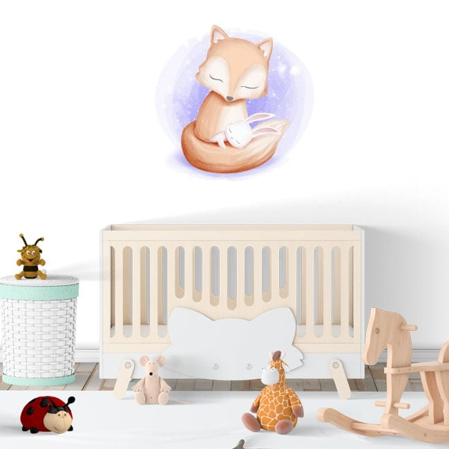 Vinyl stickers infant or baby fox and rabbit