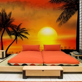 Vinyl wall murals beach sunset illustration
