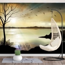 Vinyl wall murals illustration sunset landscape