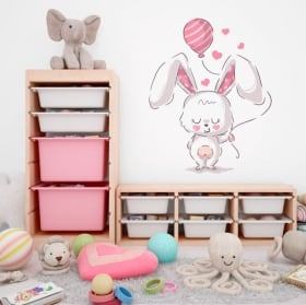 Vinyl stickers rabbit with balloon and hearts