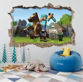 Vinyl and stickers 3d minecraft video game