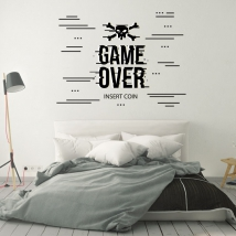 Video game stickers game over insert coin