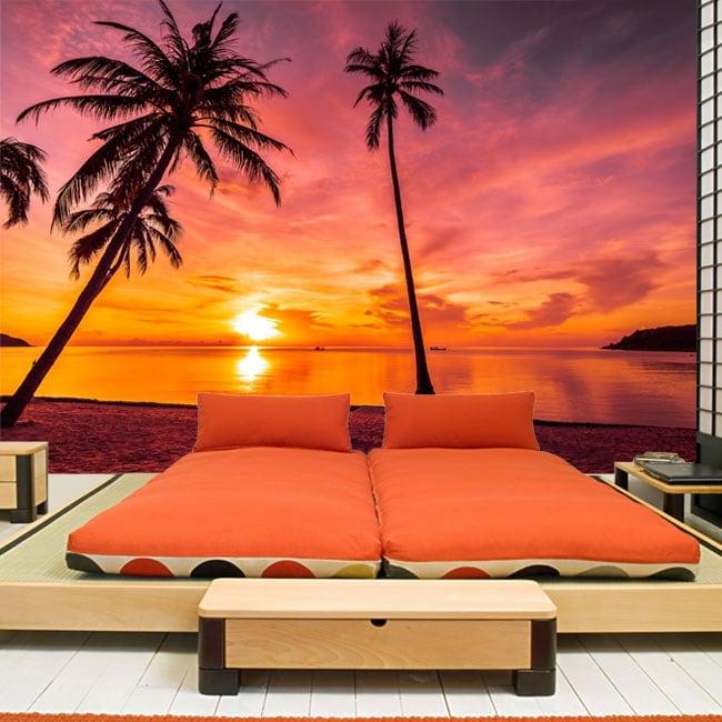 Vinyl wall murals palm trees sunset on the beach
