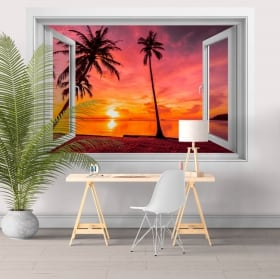 3d vinyl windows palm trees sunset on the beach