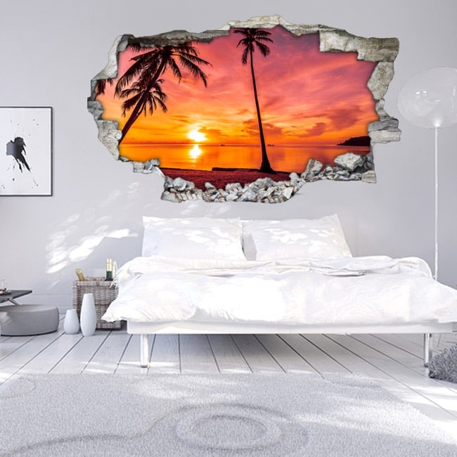 Stickers 3d palm trees sunset on the beach