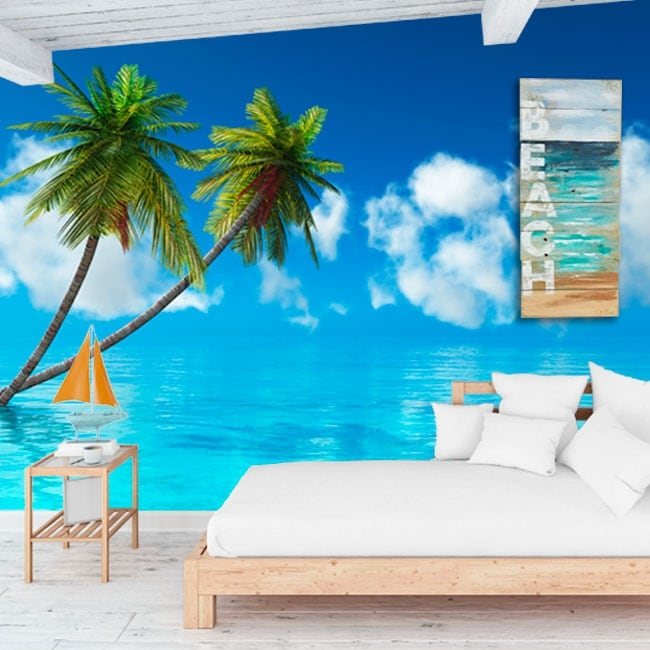 Vinyl wall murals palm trees in the sea