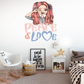 Vinyls and stickers woman with phrase peace and love