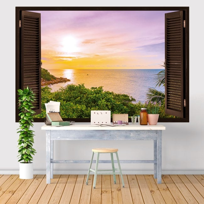 Vinyls and stickers window sunset in the sea 3d