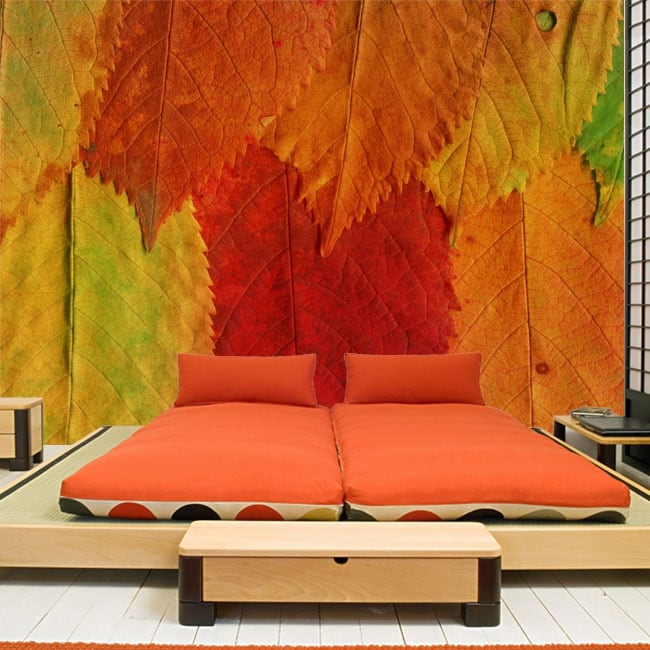 Vinyl wall murals colored leaves