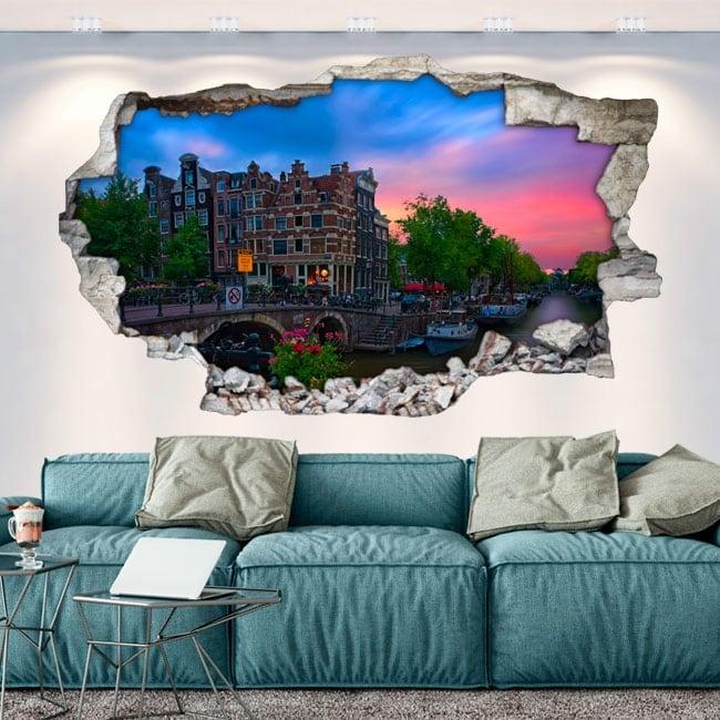 Vinyls hole wall 3d café papeneiland amsterdam