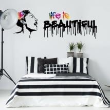 Vinyl stickers graffiti banksy life is beautiful