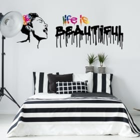 Vinyl stickers graffiti banksy life is beautiful
